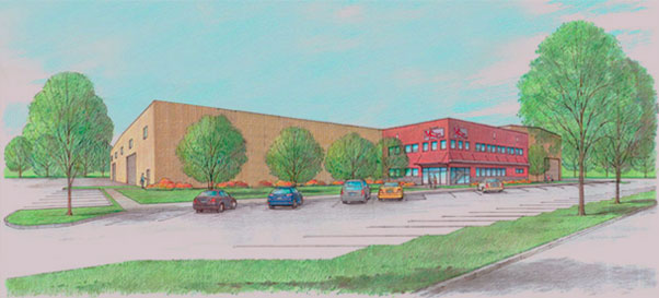 Drawing of M&S Iron Works New Building